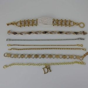 Lot 7 Fashion Bracelets 6 Gold tone 1 Silverton